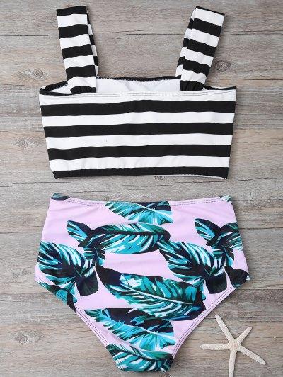 Tropical Print Striped Bikini Set - COLORMIX L Mobile