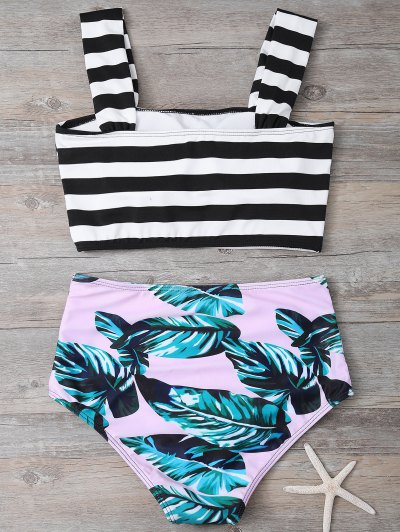 Tropical Print Striped Bikini Set - COLORMIX M Mobile