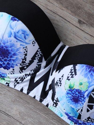 Halter Ethnic Style Zig Zag Bikini Set - COLORMIX S Mobile