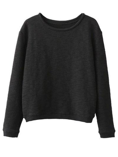 Oversized Cotton Sweatshirt - BLACK ONE SIZE Mobile
