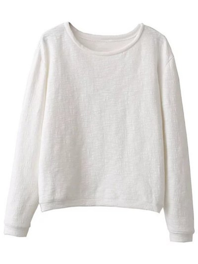 Oversized Cotton Sweatshirt - WHITE ONE SIZE Mobile