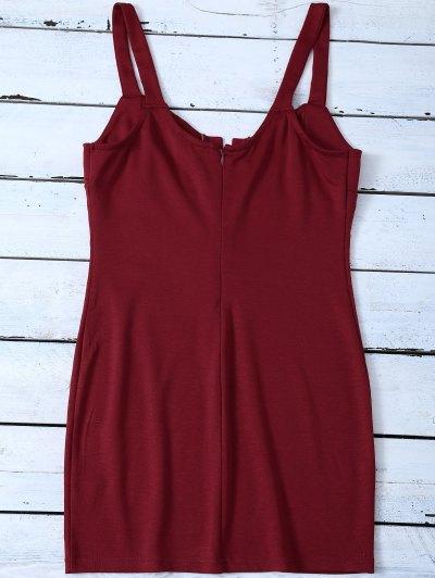 Straps Lace Up Bodycon Mini Dress - RED 2XL Mobile