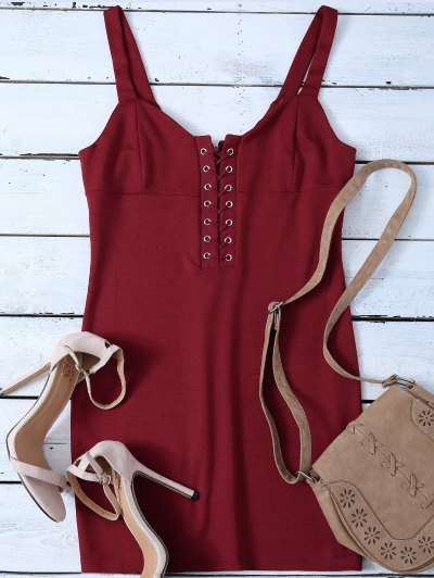 Straps Lace Up Bodycon Mini Dress - RED S Mobile