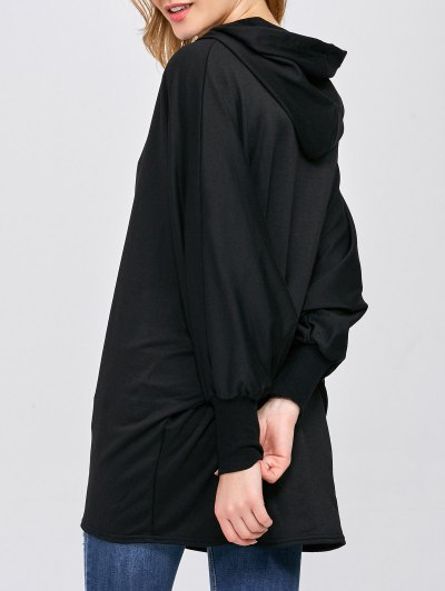 Batwing Sleeve Hooded Coat - BLACK L Mobile