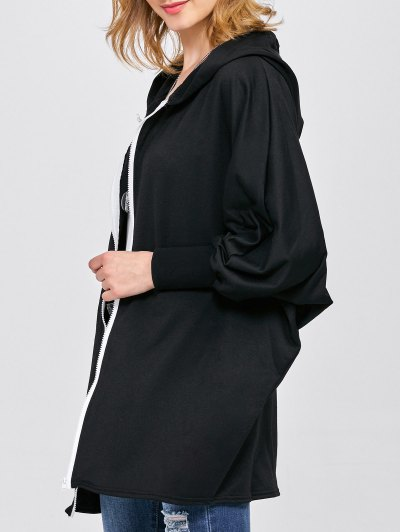 Batwing Sleeve Hooded Coat - BLACK L Mobile