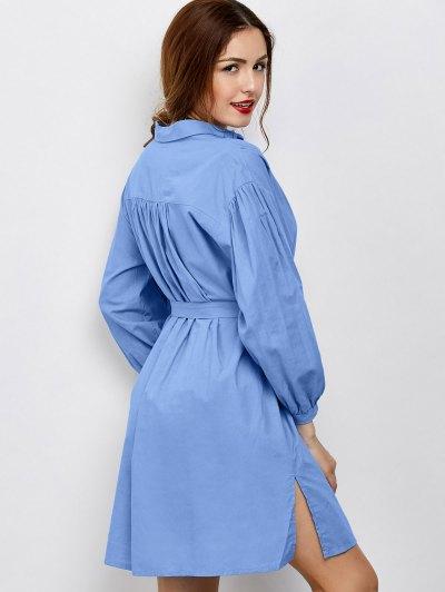 Slit Bowknot Shirt Dress - BLUE L Mobile