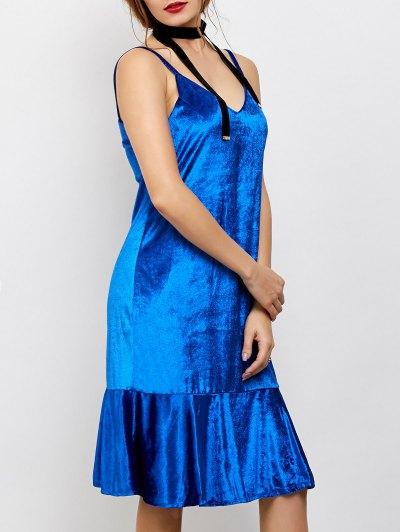 Flounced Velvet Midi Dress - BLUE 2XL Mobile