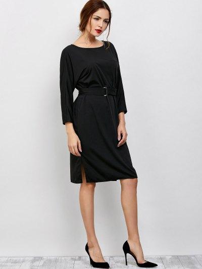 Belted Slit Long Sleeve A-Line Dress - BLACK ONE SIZE Mobile