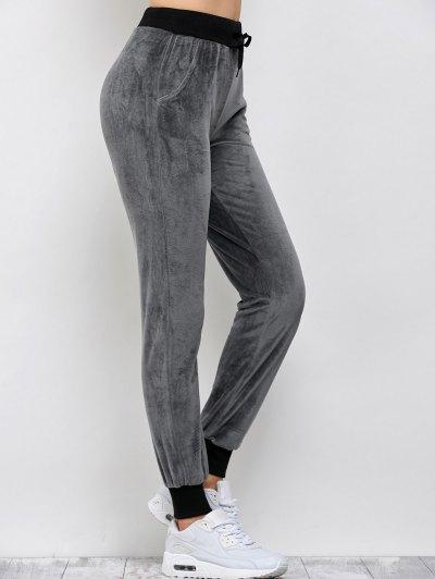 Drawstring Velvet Sports Pants - DEEP GRAY XL Mobile