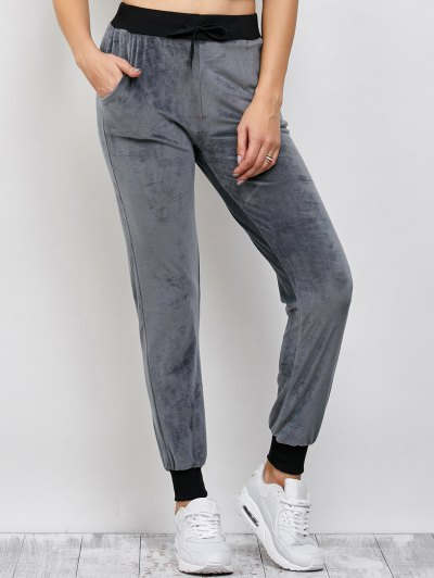 Drawstring Velvet Sports Pants - DEEP GRAY L Mobile