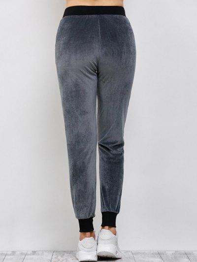 Drawstring Velvet Sports Pants - DEEP GRAY M Mobile