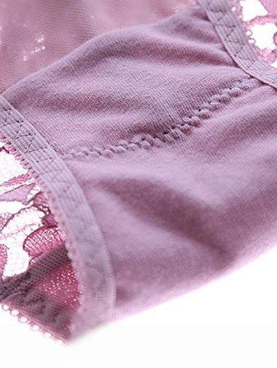 Scalloped Lace Panel Spring Strap Bra Set - PURPLE 80A Mobile