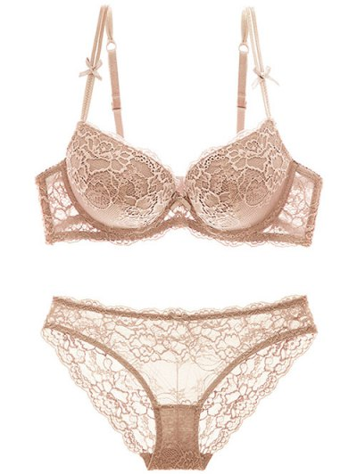 Double Straps Bowknot Lace Panel Bra Set - SKIN COLOR 75B Mobile