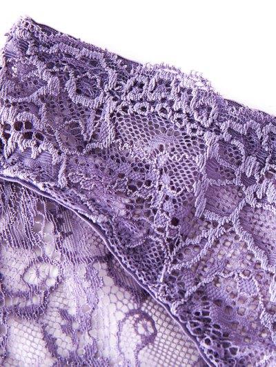Double Straps Bowknot Lace Panel Bra Set - BLACK 85B Mobile