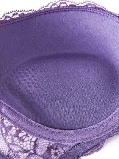 Double Straps Bowknot Lace Panel Bra Set - LIGHT PURPLE 75C Mobile