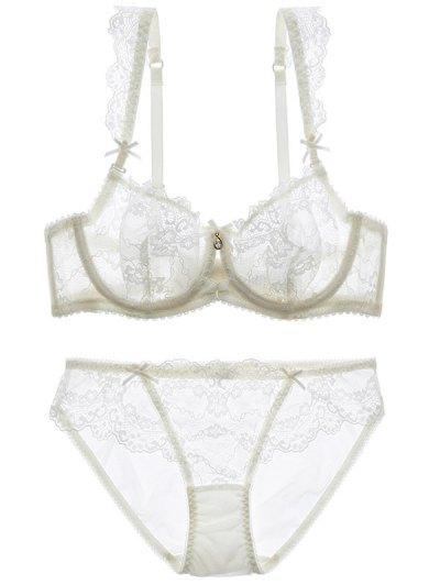 Bowknot Lace Strap Rhinestone Sheer Bra Set - WHITE 85C Mobile