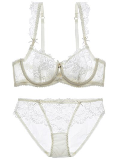 Bowknot Lace Strap Rhinestone Sheer Bra Set - WHITE 70B Mobile