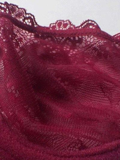 Bowknot Lace Strap Rhinestone Sheer Bra Set - WINE RED 85C Mobile