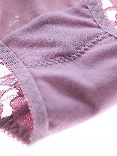 Scalloped Lace Panel Spring Strap Bra Set - SKIN COLOR 75C Mobile