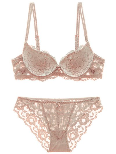 Scalloped Lace Panel Spring Strap Bra Set - SKIN COLOR 75B Mobile