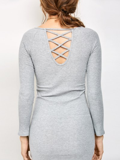 Strappy Long Sleeve Ribbed Sweater Dress - GRAY M Mobile