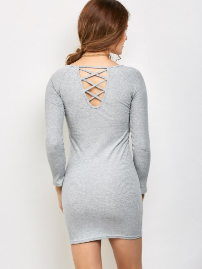 Strappy Long Sleeve Ribbed Sweater Dress - GRAY S Mobile