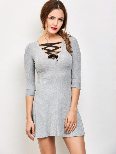 V Neck Lace Up Ribbed Jumper Dress - GRAY L Mobile