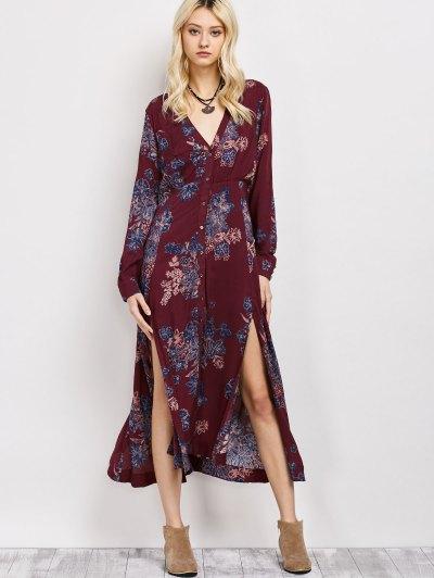 Vintage Loose Floral Dress - WINE RED L Mobile