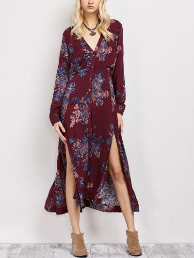 Vintage Loose Floral Dress - WINE RED M Mobile