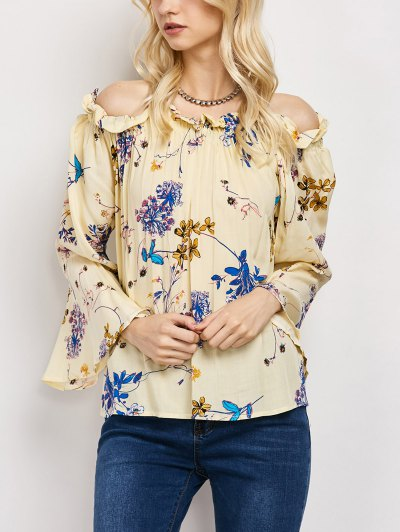 Off The Shoulder Flare Sleeve Floral Blouse - YELLOW L Mobile