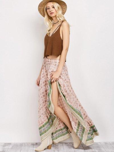 Patterned High Low Maxi Boho Skirt - PINK L Mobile