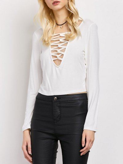 Cut Out Lace-Up T-Shirt - WHITE L Mobile