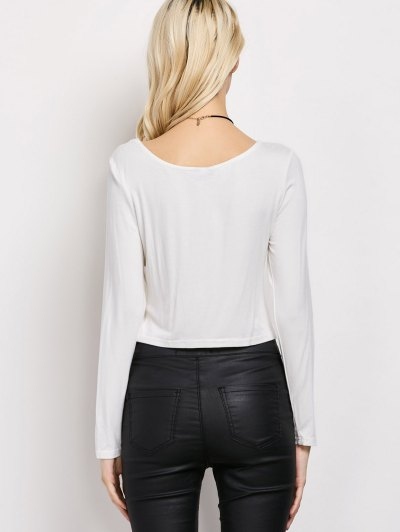 Cut Out Lace-Up T-Shirt - WHITE S Mobile