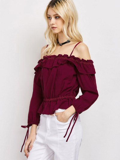 Ruffles Cami Cold Shoulder Blouse - RED XL Mobile
