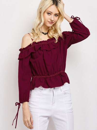Ruffles Cami Cold Shoulder Blouse - RED L Mobile