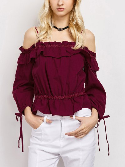 Ruffles Cami Cold Shoulder Blouse - RED S Mobile