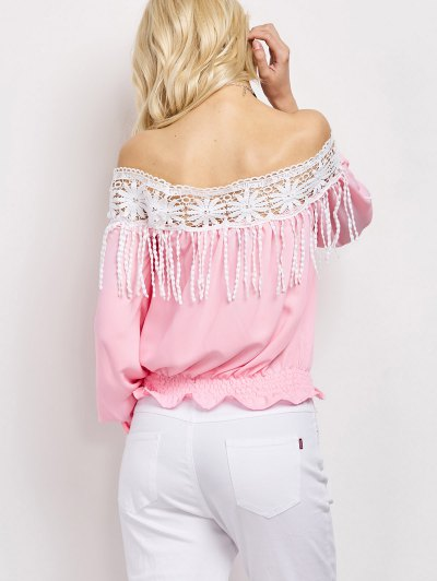 Cut Out Off The Shoulder Blouse - PINK S Mobile
