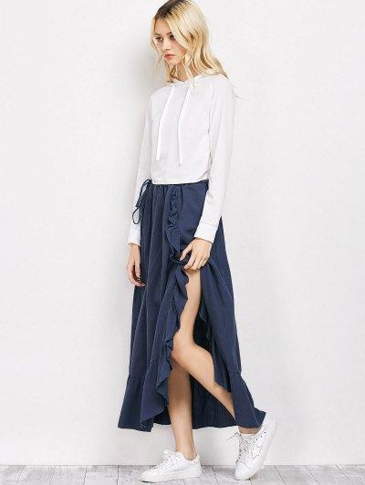 Drawstring Ruffles Slit Skirt - BLUE XL Mobile