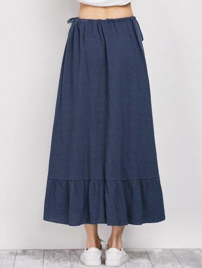 Drawstring Ruffles Slit Skirt - BLUE L Mobile