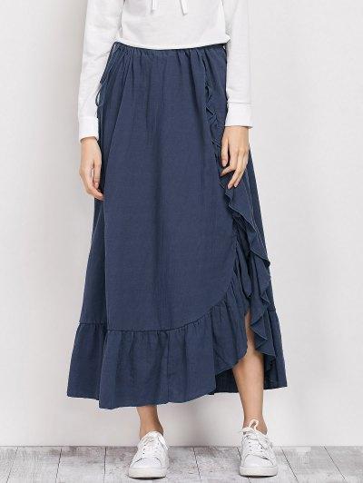 Drawstring Ruffles Slit Skirt - BLUE S Mobile