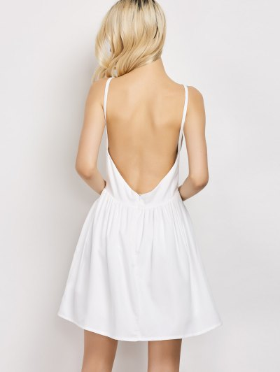 Puffball Backless Prom Dress - WHITE M Mobile