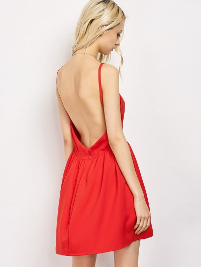Puffball Backless Prom Dress - RED L Mobile