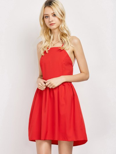 Puffball Backless Prom Dress - RED M Mobile