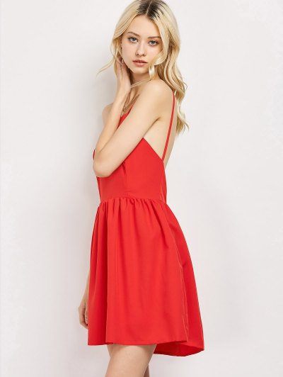 Puffball Backless Prom Dress - RED S Mobile