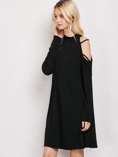 Long Sleeve Loose Cold Shoulder Dress - BLACK XL Mobile