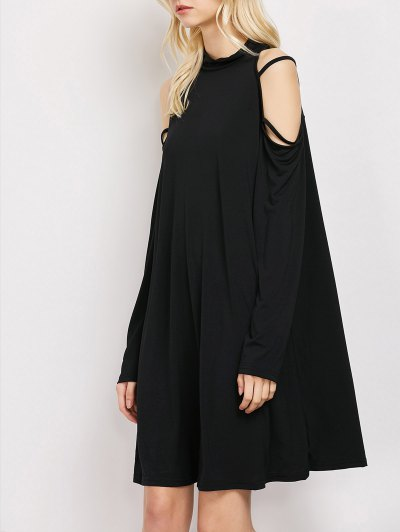 Long Sleeve Loose Cold Shoulder Dress - BLACK M Mobile