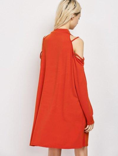 Long Sleeve Loose Cold Shoulder Dress - RED L Mobile