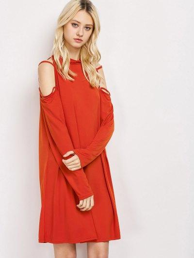 Long Sleeve Loose Cold Shoulder Dress - RED M Mobile