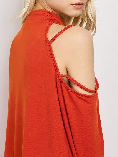 Long Sleeve Loose Cold Shoulder Dress - RED S Mobile