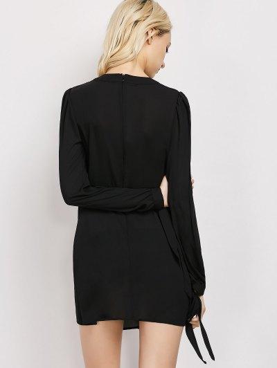 Lace Panel A-Line Dress - BLACK XL Mobile